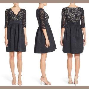 NWT $148 Eliza J Lace & Faille Fit Flare Dress 14